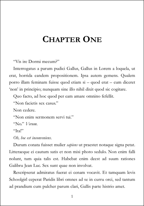 Image of a Chapter One first page, set for printing